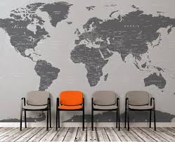 Large Grey World Map Wall Mural Wall Covering Simple Peel Etsy In 2020 Map Wall Mural World Map Wall World Map Mural