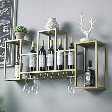 iron gold wall shelf upside down wine