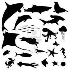 Aquatic Life Silhouettes Pack Fish Silhouette Animal Silhouette Silhouette Art