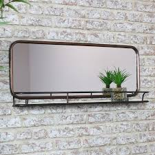 copper wall mirror with shelf melody