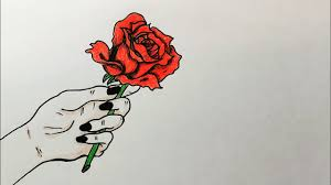 How To Draw A Rose In Hand Easy Step By Step Tutorial رسم يد تمسك