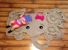Baby Kids Room Crochet Large Elephant Rug Blanket Girl Bow Boy Shower Gift Ebay