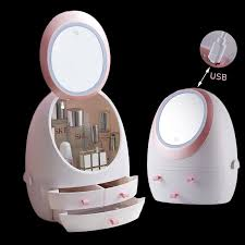 cosmetic storage box with lamp and