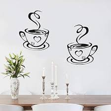 Amazon Com Juekui Vinyl Wall Decal Sticker Coffee Time Wall Decals For Kitchen Cafe Window Poster Home Decoration Murals Ws79 Black 2 Home Kitchen