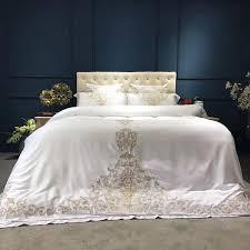 gold silver white silk bedding set