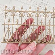 Mini Chipboard Wrought Iron Fence Alpha Stamps