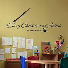 Amazon Com Playroom Art Display Picasso Every Child Is An Artist Nursery Vinyl Wall Decal Display Preschool Kids Room Sticker Red M Kitchen Dining