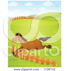 Cartoon Of A Brown Horse Jumping A Fence In A Pasture Royalty Free Vector Clipart By Graphics Rf 1130743