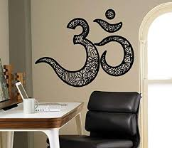 Amazon Com Om Mantra Wall Vinyl Decal Indian Religion Wall Sticker Yoga Interior Bedroom Decor Asia India Wall Design 20 Gns Home Kitchen