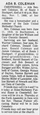 Ada B. Coleman Obituary - Newspapers.com