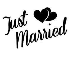 Just Married Sticker Cute Wedding Vinyl Decal Car Window Wall Art Husband Wife 1 99 Picclick