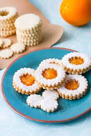 linzer cookies with homemade orange