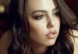 women indoors brown eyes face makeup