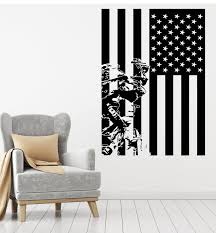Vinyl Wall Decal Patriotic Interior American Flag Military Soldier Sti Wallstickers4you
