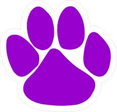 4 75in X 5in Purple Paw Print Bumper Sticker Vinyl Car Window Mascot Decal Stickertalk