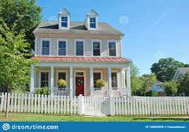 Comfy Home With Picket Fence Stock Photo Image Of Grand Building 148584396