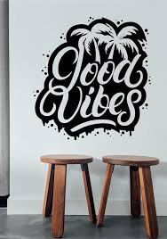 Good Vibes Wall Decal Sticker Inspirational Quote Vinyl Lettering Interior Modern Decor 70s Decor Wall Quote Decal Peace Art Inspirational In 2020 Bottle Wall Wall Decals Wall Decal Sticker