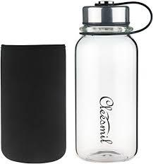 glass water bottle with neoprene sleeve