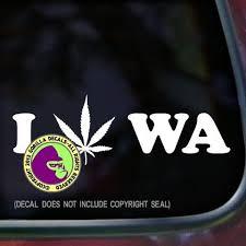 Washington State I Love Marijuana Vinyl Decal Sticker Gorilla Decals