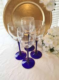 4 cobalt blue stems long stemmed wine