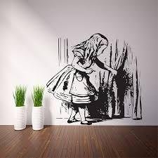 Alice Finding Tiny Door Vinyl Wall Art Decal