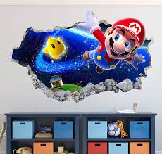 Amazon Com Mario Bros Wall Decal Art Decor Magic World 3d Smashed Sticker Mural Kids Gift Large Ha17 50 W X 30 H Home Kitchen