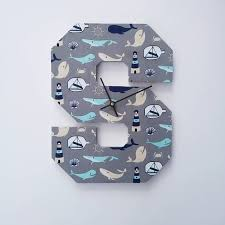 Nautical Whales Wooden Letter S Clock Iccles On Madeit