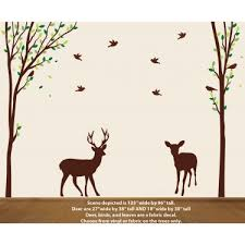 Nature Tree Decal With Deer Wall Stickers
