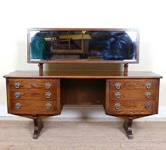 oak dressing table kneehole long mirror