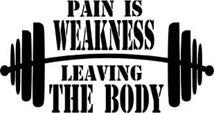 Amazon Com Creativesignsndesigns Pain Is Weakness Leaving The Body W Barbell Graphic Gym Vinyl Decal 22 X12 Black Home Kitchen