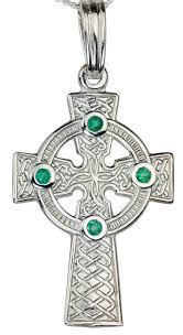 white gold emerald 12cts celtic cross