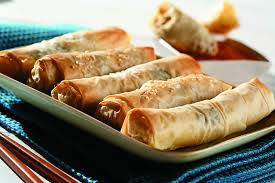 phyllo pastry spring rolls with pork