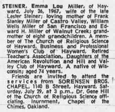 Emma Lou Wells Miller Steiner 1892-1967 - Newspapers.com