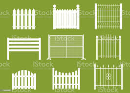 White Fences Of Different Shapes Vector Cartoon Flat Set Isolated On Background Stock Illustration Download Image Now Istock