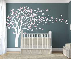 Amazon Com Luckkyy Tree Blowing In The Wind Tree Wall Decals Wall Sticker Vinyl Art Kids Rooms Teen Girls Boys Wallpaper Murals Sticker Wall Stickers Nursery Decor Nursery Decals White Pink Arts Crafts