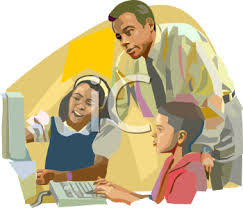 African American Teacher Helping Kids with Computers - Royalty Free Clipart  Image