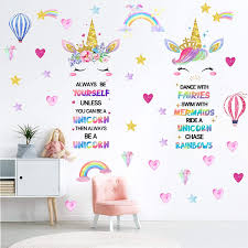 Amazon Com Outus 3 Sheets Unicorn Wall Decals Unicorn Rainbow Wall Sticker Decor For Girls Kids Bedroom Nursery Christmas Birthday Party Decoration 24 X 14 4 Inch Home Kitchen