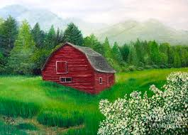 old red barn painting by deborah macy