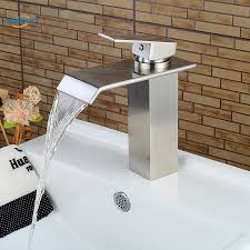 waterfall spout bathroom sink faucet