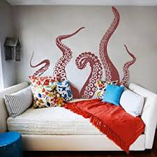 Tentacles Wall Decal Kraken Octopus Tentacles Wall Sticker Sea Animal Wall Decal Mural Home Art Decor Dark Red Amazon Com