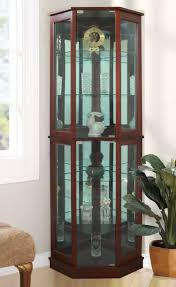 lighted corner curio cabinet wood