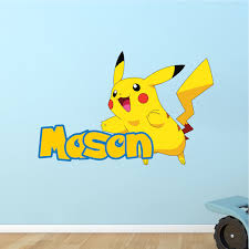 Kids Custom Pikachu Pokemon Name Decal Pokemon Room Themed Decor Pikachu Stickers Pokemon Wall Decals Primedecals