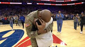 Sergeant Ivan Thomas reunites with his son at 76ers game | Watch ESPN