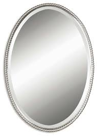 oval beveled mirror with beaded frame