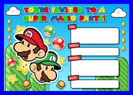 Super Mario 5 X7 Invite Invitaciones De Mario Bros Fiesta De