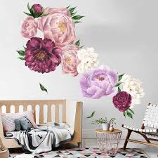 Amazon Com Floral Wall Stickers Peony Flowers Wall Decals Decorative Wallpapers Delicate Murals Art Applique Removable Vinyl Wall Art Stickers For Nursery Bedroom Kitchen Dining