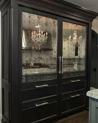 antique mirror panels on custom fridge
