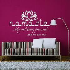 namaste wall decal quote buddha lotus flower yoga wall sticker
