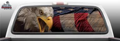 Wood Bold American America Usa Flag Bald Eagle Abstract Fantasy Tattoo Graphic Window Perf Perforated Wrap Vinyl Decal Truck Pickup Suv
