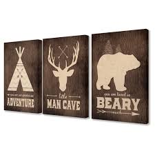 The Stupell Home Decor Collection The Kids Room By Stupell Little Man Cave Adventure 3 Piece Wall Art Set In 2020 3 Piece Canvas Art Baby Wall Art 3 Piece Wall Art